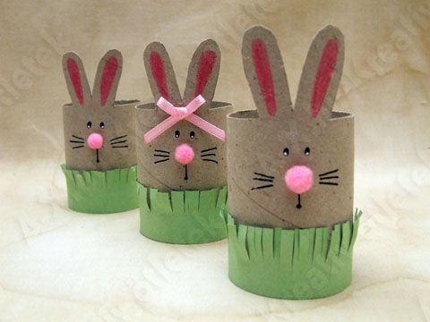 Bunnies with paper rolls