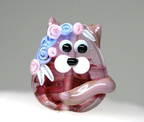 Glass Cat bead pendant Floral Kitty Lampwork cat bead Purple