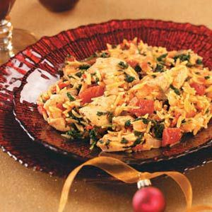 Chicken and Orzo Skillet Recipe -Here's a great one-skillet supper that's colorful, healthy, filling and definitely special! Our taste testers loved the blend of spices, the touch of heat and the sophisticated flavor that make this dish a must-try. Kellie Mulleavy - Lambertville, Michigan