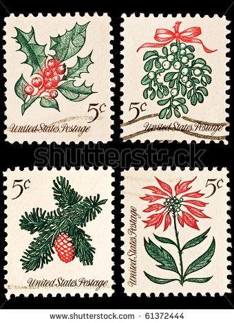 vintage Christmas postage stamps