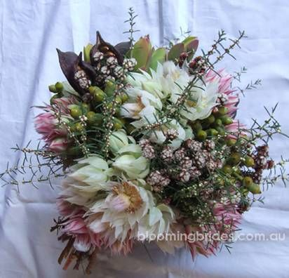 Love this bouquet of Australian spring natives with sugar and spice blushing brides. Beautiful!