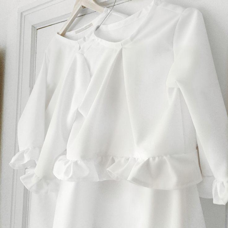 Ruffle dress white Made by Sofie Kimman