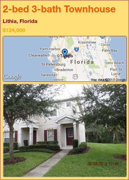 2-bed 3-bath Townhouse in Lithia, Florida ►$124,000 #PropertyForSale #RealEstate #Florida http://florida-magic.com/properties/19804-townhouse-for-sale-in-lithia-florida-with-2-bedroom-3-bathroom