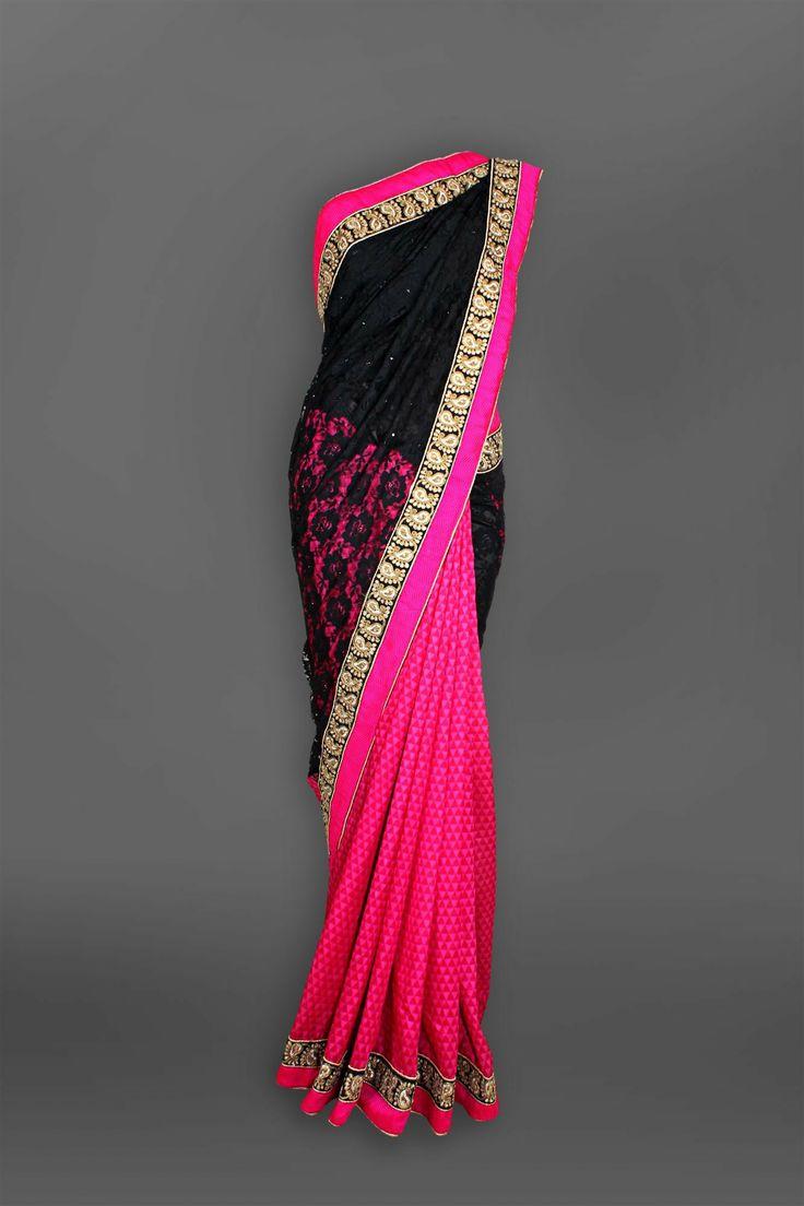 Black  Pink Lace Sari