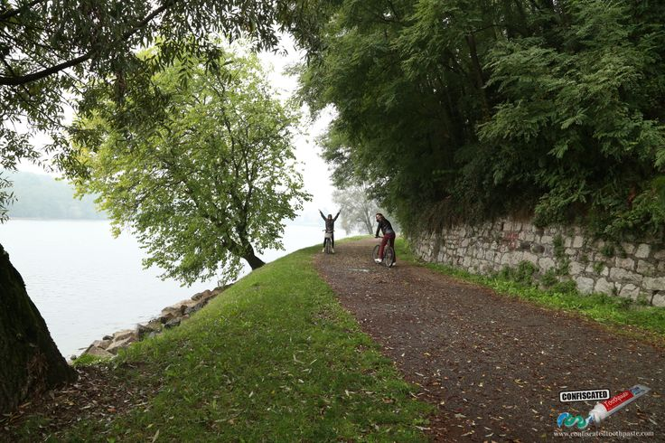 Riding bikes on Lago Maggiore near Seso Calende, Italy.  A Roadtrip through the Swiss Alps from Paris to Italy --> http://www.confiscatedtoothpaste.com/a-roadtrip-through-the-swiss-alps-from-paris-to-italy/