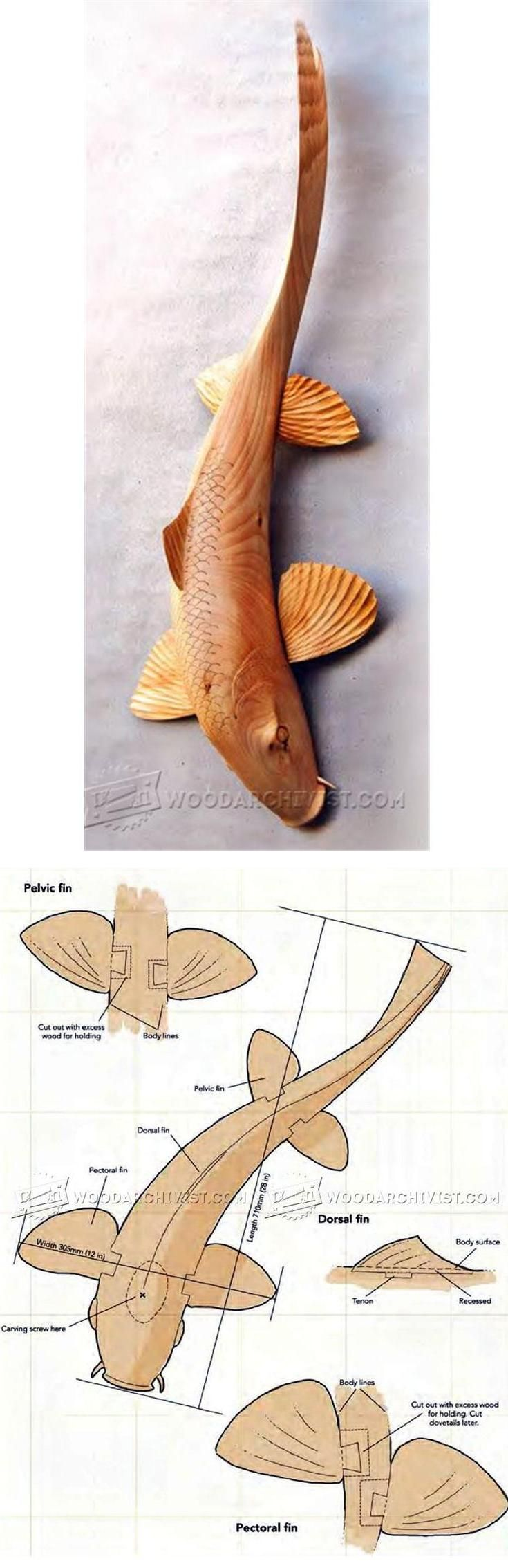 Carving koi carp wood patterns and techniques