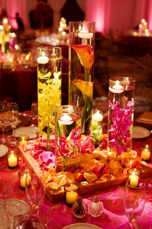 Colorful submerged flowers... replace wooden block with mirror, add some cyrstals to the flower petals.