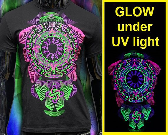 neon fluorescent t-shirt Glow under UV blacklight by CosmicSoma
