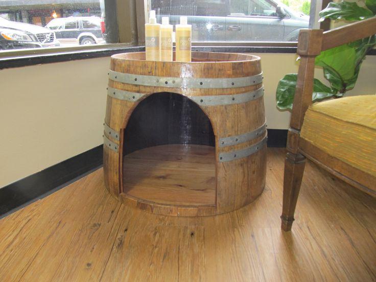 Wine barrel dog bed & table