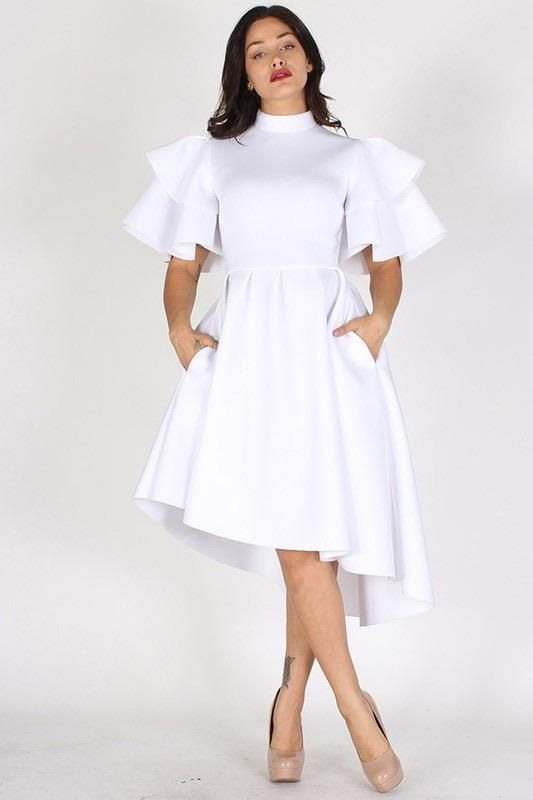 Ceremonial White Dress In 2020 White Dress Dresses Fit And Flare Dress