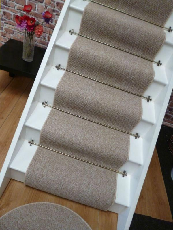 Carpet Stair Runner To Fit 13 Stairs Berber Style Mottled Beige