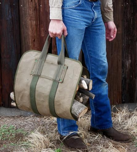 Canvas Log Carrier in Home by W Durable Goods on Scoutmob Shoppe. Here's a practical and comfortable way to carry wood to your fireplace and keep yourself clean.