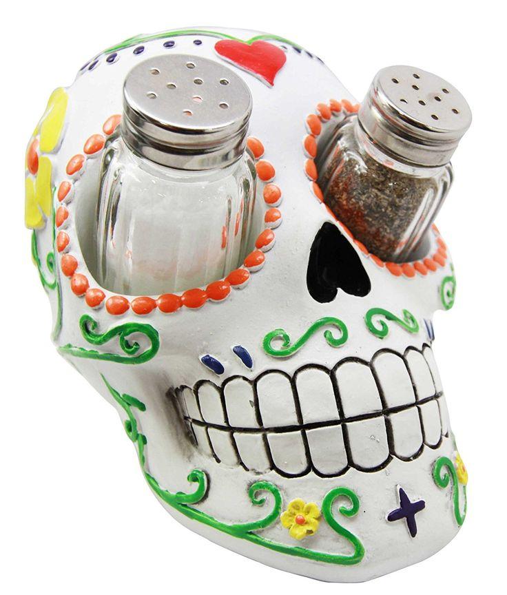 Day of The Dead White Sugar Skull Salt Pepper Shakers Holder Figurine - My Sugar Skulls