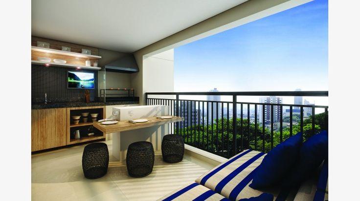 Terraço do apto de 86 m² com churrasqueira e pia.