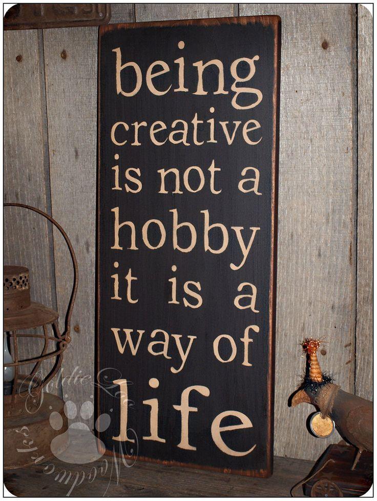 Being Creative, Primitve, Folk Art, Word Art Typography Pine Wall Sign. $18.00, via Etsy.