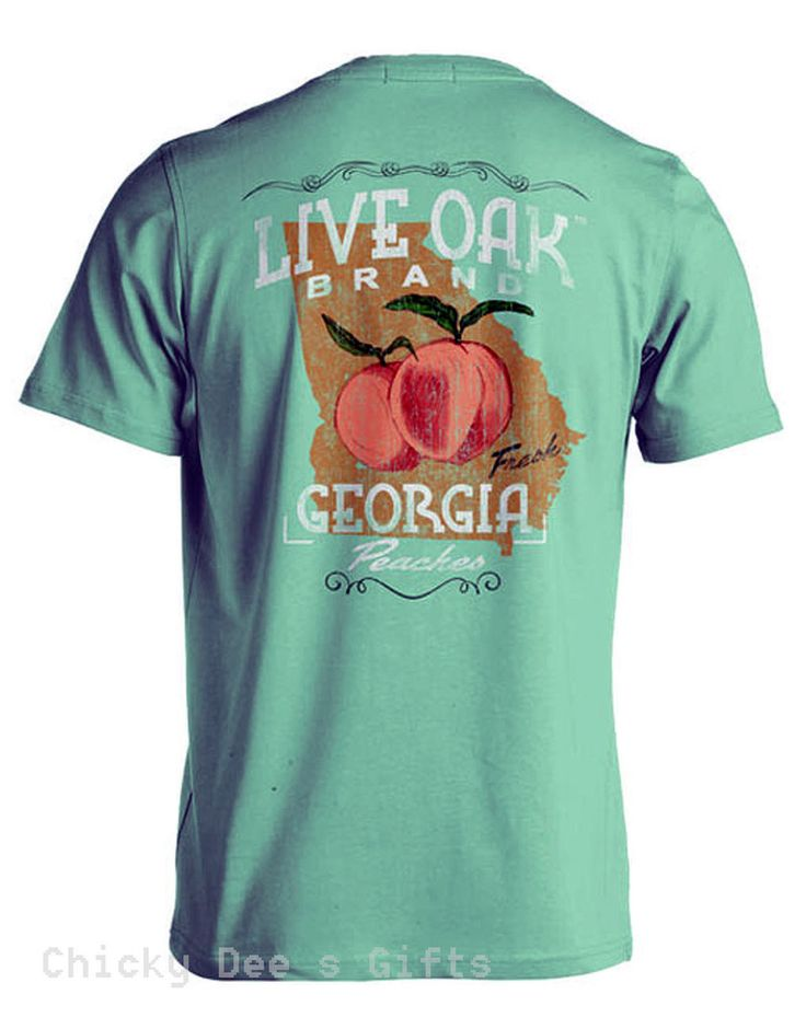Live Oak Brand Southern Essentials GEORGIA PEACHES Unisex Pocket Tee Shirt T-Shirt