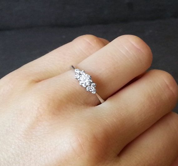 Thin White Gold Ring With One Diamond For Tiny Fingers