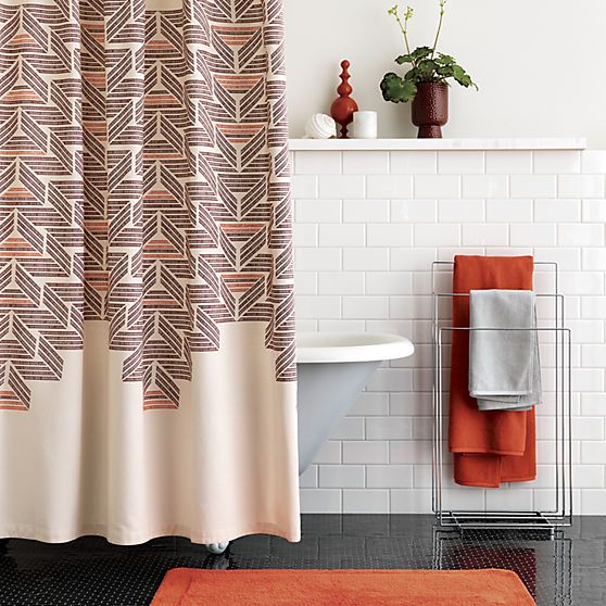 A pop of personality. Shop CB2 for modern, unique shower curtains designed to suit your space and your style.