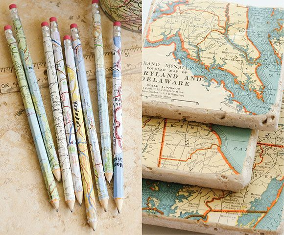 Visit us [On the Blog] for 7 creative ways to use maps, from upcycled CD case picture frames to keepsake earrings.