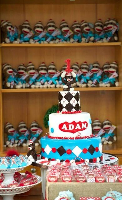 Cool cake at a Sock Monkey birthday party!  See more party ideas at CatchMyParty.com!