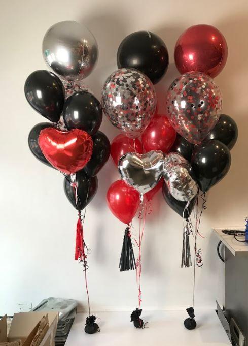 Custom balloon arrangements, orbz, hearts and confetti