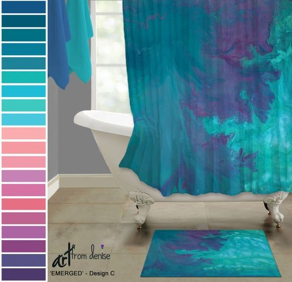 Abstract Turquoise Purple And Teal Shower Curtain Bath Mat Sets