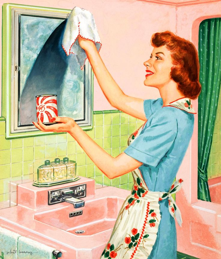 Polishing the bathroom mirror with a smile.