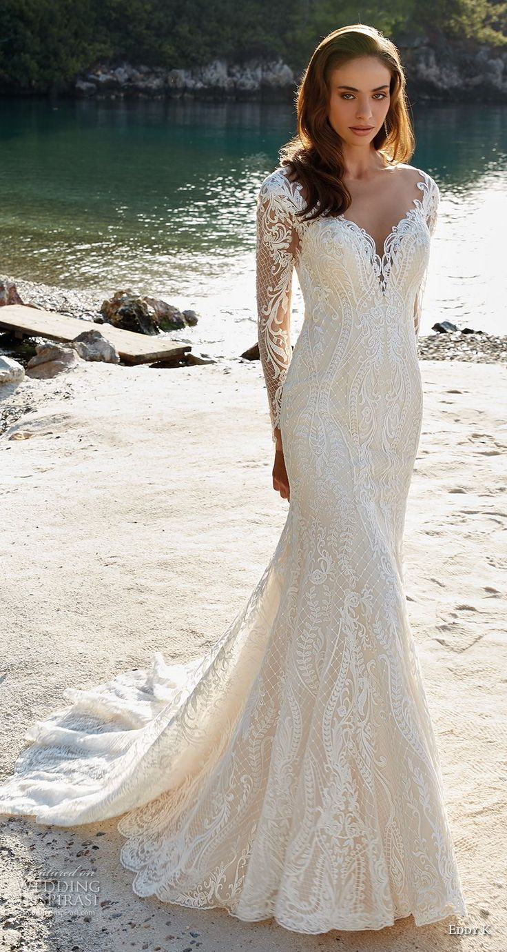 eddy k 2018 bridal long sleeves deep sweetheat neckline full embellishment elegant fit and flare wedding dress sheer button back chapel train (15) mv -- Eddy K. Dreams 2019 Wedding Dresses