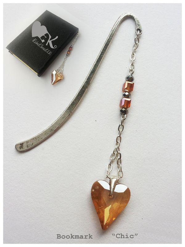 heart shape silver tone book decor RebelSoulEK bookmark