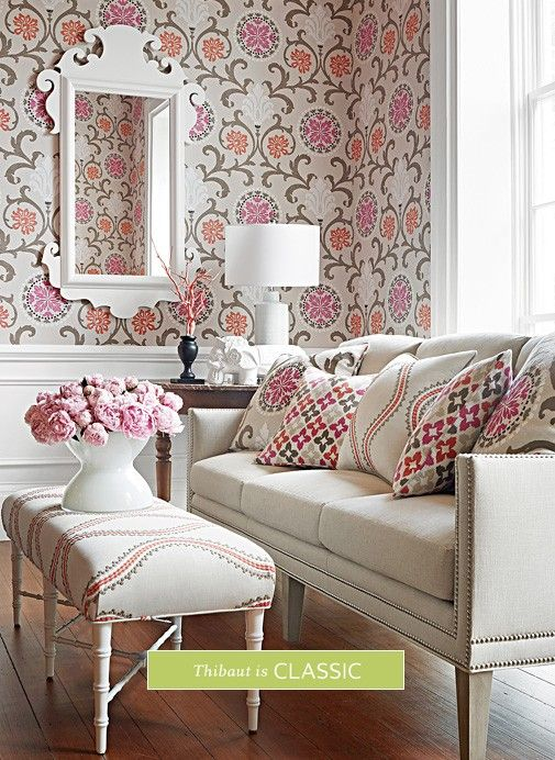 Thibaut Classic Prints. Just love the pink my favorite color!  source4interiors.com - 151 Best Thibaut Fabrics Images On Pinterest Fabric Wallpaper