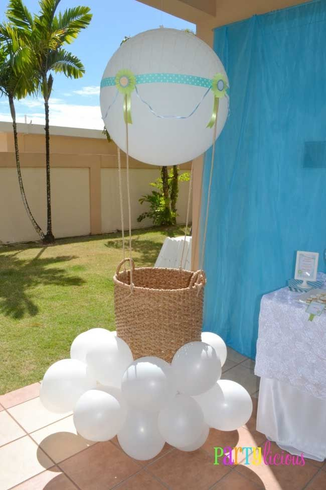 baby boy baby shower hot air balloon theme