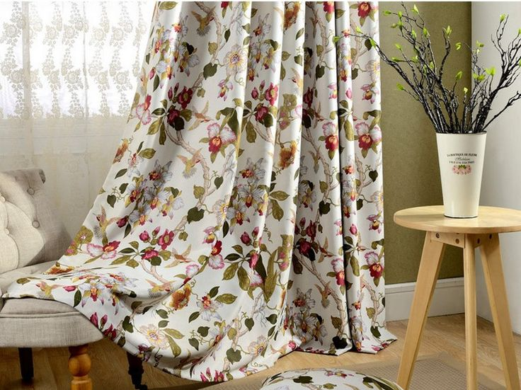 2PCS Flowers Printed Blackout Curtains Living Room Window Cutains Bedroom Drapes Blockout Sunlight Machine Washable Custom-made