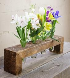 Salvaged Wood Floating Flower Stand