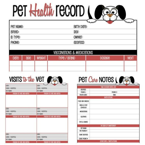Dog health record printable for the pup pinterest for Pet health record template