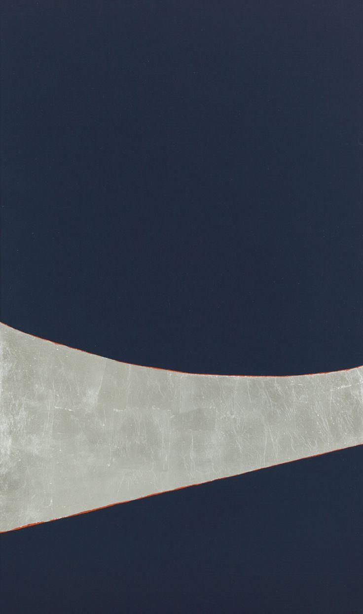 Anna-Eva Bergman: N°21-1977 Planète et terre, 1977 Acrylique et feuille de métal sur toile 162 x 97 cm