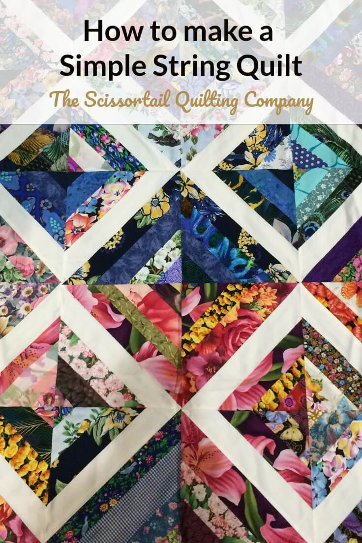 How to Make a String Quilt Block https://scissortailquilting.com/tutorials-instruction/how-to-make-a-string-quilt-block/  Tutorial for making a string quilt and design considerations. Plus: download the free coloring sheet to color your own string quilt. #scrapquilt #stringquilt #usethosescraps #quilting