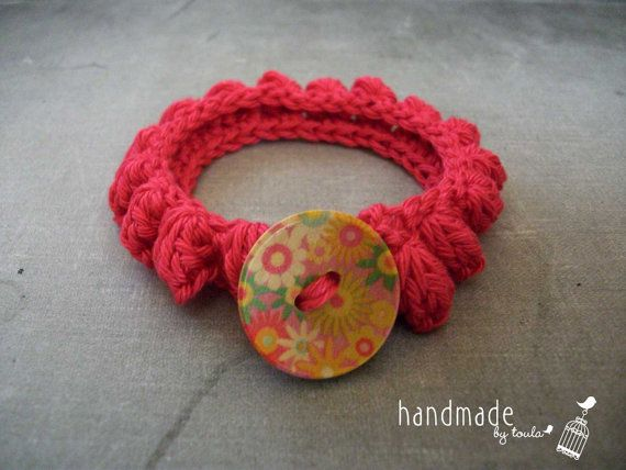 Cotton Crochet Bracelet Color Framboise by HandmadeByToula on Etsy, €4.00