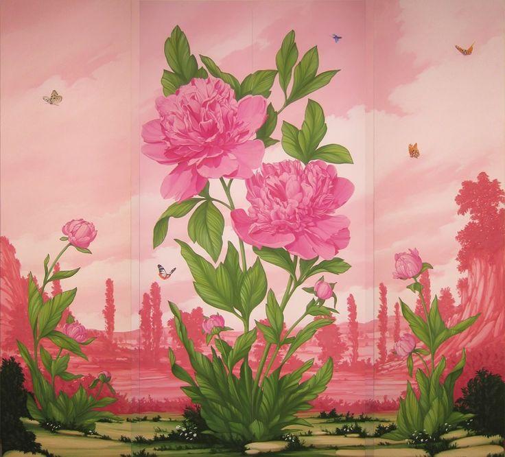 Painted wardrobe. #wardrobe #armadio #peonia #fiore #dipinto #peony