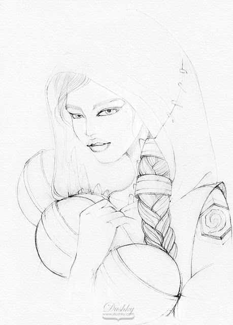 illustration by #dushky | #fashion #illustration #art #pencil #drawing #sketch #gaming #video #games #hearthstone #girl #orc #creature #corphack