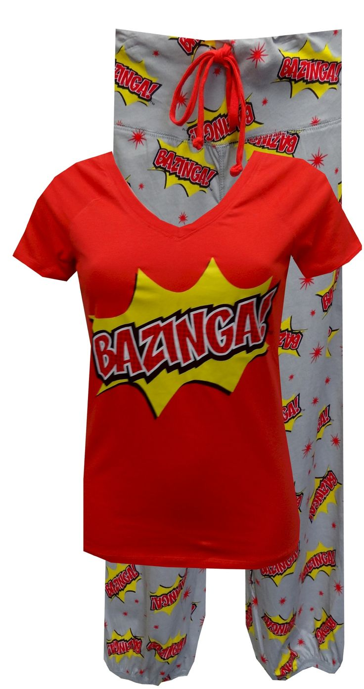 The Big Bang Theory Bazinga Pajama Set  Calling all Big Bang Theory fans...these are the jammies you have been waiting for! This pajama features Sheldon's catch phrase Bazinga on a red v-neck top. The pant has a wide waistband with a drawstring tie. The capri length pants have an elasticized bottom edge and also feature the popular phrase. Junior cut. Totally awesome! $30