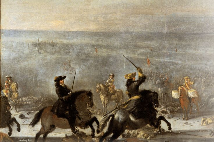 The battle of Lund 1676. Charles XI of Sweden(on the right) accompanied by Erik Dahlbergh makes their way through the Danish lines. In the confusion of battle Charles XI believes himself to be amongst the Swedish lines and tries to instruct a Danish drummer to sound the attack.  By Johan Philip Lemke