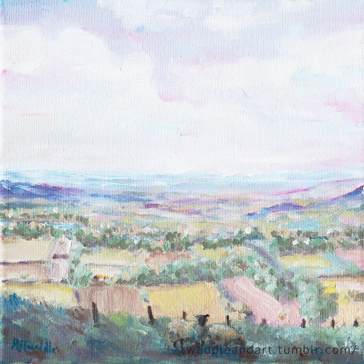 Oil painting acroos the Tees valley towards the Richmond hills by M.J.Tweddle