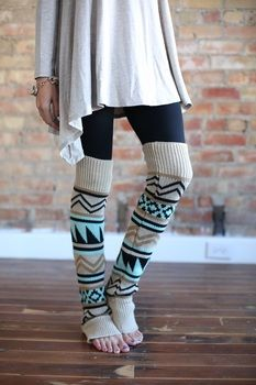 do i love these!!!!!!!!! let me lose thirty pounds to look cute in leg warmers though, so the top pattern isn't smooshed out to full aztec capacity!!!: