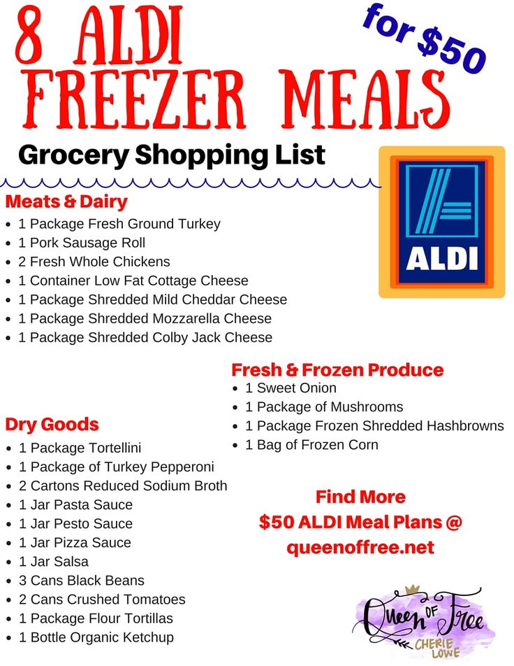 I can't believe you can make 8 ALDI Freezer meals for under $50! This post has an entire meal plan complete with a free printable shopping list.