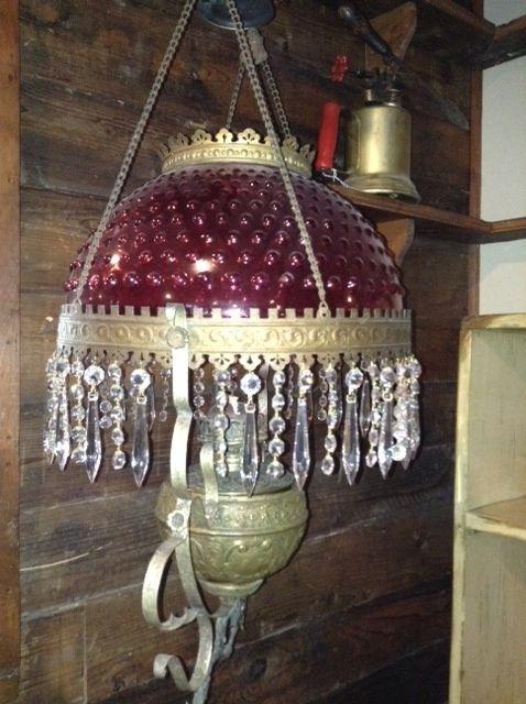 Circa 1890 Cranberry library lamp.