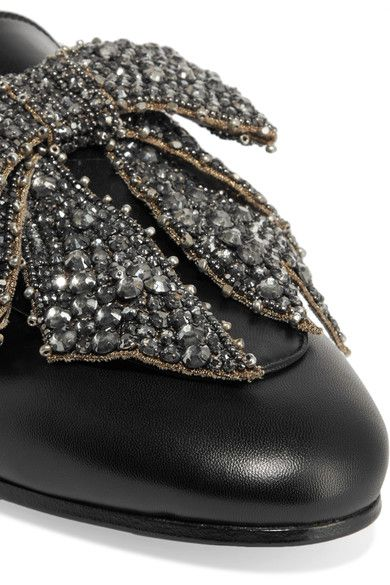 Gucci - Shearling-lined Embellished Leather Slippers - Black - IT40.5