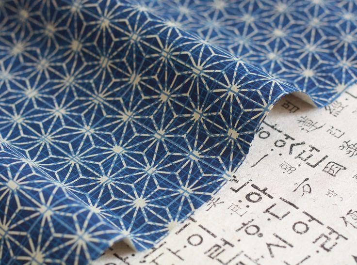 Magnifique tissu japonais haute qualité épais motif étoiles asanoha bleu écru145x50cm : Tissus Ameublement par hyeri