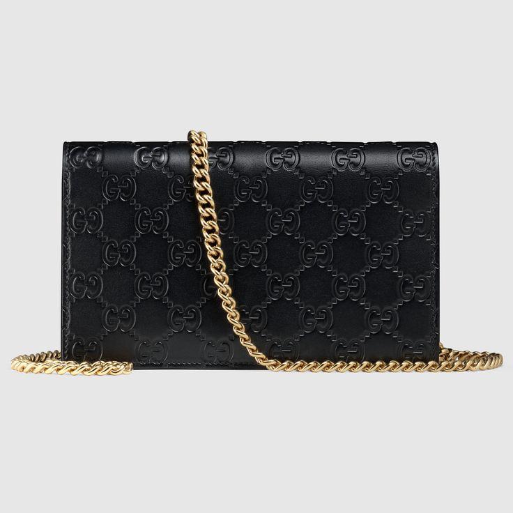 Gucci Femme - Portefeuille Gucci Icon en cuir Gucci Signature avec chaîne - 409340CWC1G1000