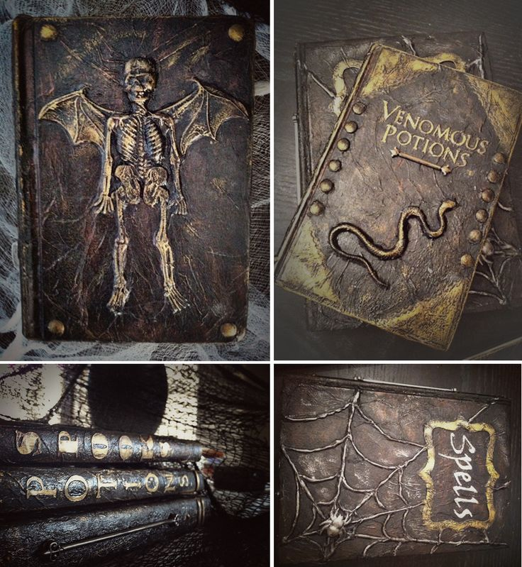 """Aged """"leather"""" spell & potion books for Halloween. Made with paint, tissue, and dollar store toys!"""