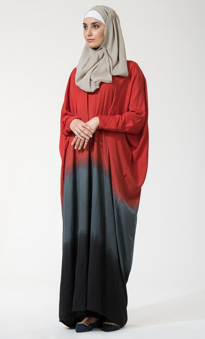 Ihram Kids For Sale Dubai: Tie Dye Batwing Abaya-Red Grey Black